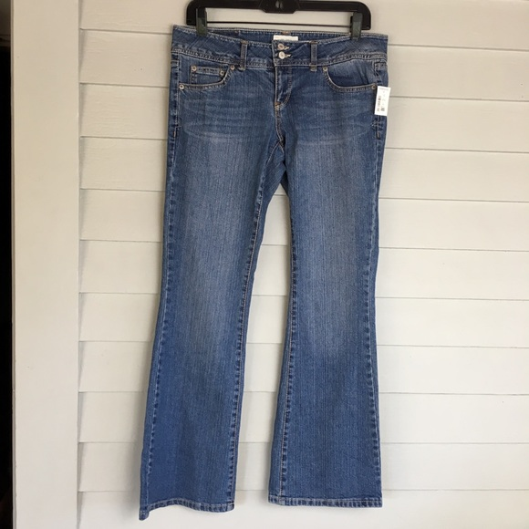 NEW Aeropostale Dark Vintage Hailey Skinny Flare Blue Jeans with Zippers 1 2 S